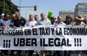 Marcha de protesta en Madrid contra Uber