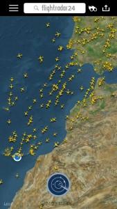 Tráfico aéreo en el corredor Península-Canarias, marzo 2016